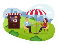 City Park cafe with umbrella. Couple on weekend date. People Drink Coffe with cakes in Outdoor Street Cafe.Park with outside stock illustration