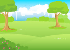City Park Cartoon. Cartoon illustration of a park with cityscape as the background Royalty Free Stock Photo
