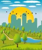 City park. Cartoon illustration of a summer city park Royalty Free Stock Photos