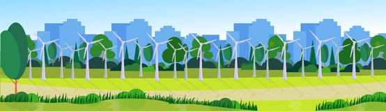 City park clean energy wind turbines green lawn trees on city buildings template background banner flat. Vector illustration stock illustration