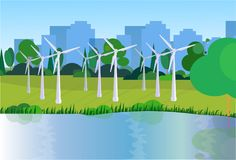 City park clean energy wind turbines river green lawn trees on city buildings template background flat. Vector illustration stock illustration