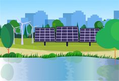 City park clean energy wind turbines solar energy panels river green lawn trees on city buildings template background. Flat vector illustration royalty free illustration