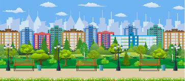City park concept, wooden bench, street lamp Royalty Free Stock Images
