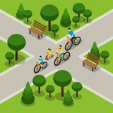 City Park Cycling Family Isometric Banner. Family with two children cycling in city park isometric banner on healthy active lifestyle abstract vector Royalty Free Stock Photography