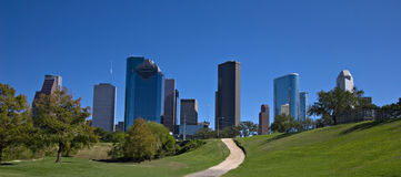 City park with downtown skyline Stock Images