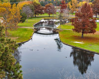 City Park foot bridge autumn Royalty Free Stock Image