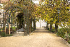 City park. Footpath in city park in autumn Stock Photography