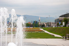 City park with fountain. ZAGREB, CROATIA - April 12, 2014 - City park with fountains, Bandiceve fountains Stock Photography