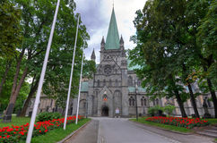 City park in front on Trondheim cathedral Royalty Free Stock Photos