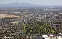 City park and golf course from above in Tucson, Arizona Stock Photography