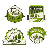 City park green vector icons set Stock Images