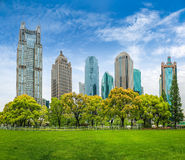 City park greenbelt with modern building Royalty Free Stock Photography
