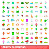 100 city park icons set, cartoon style. 100 city park icons set in cartoon style for any design vector illustration Royalty Free Stock Image