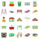 City park icons set, cartoon style Royalty Free Stock Photography