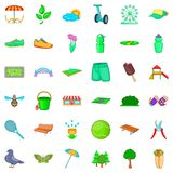 City park icons set, cartoon style. City park icons set. Cartoon style of 36 city park vector icons for web isolated on white background Stock Images