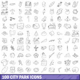 100 city park icons set, outline style. 100 city park icons set in outline style for any design vector illustration Royalty Free Stock Image