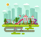 City park with kids playground. Flat design vector summer landscape illustration of city park with kids playground and equipment with swings, slides and tube Stock Images