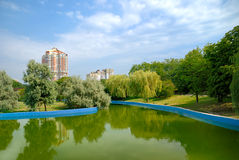 City park with lake. Beautiful kind of city park Stock Photos