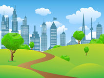 City park landscape. The background of City park landscape with grass buildings and tress Stock Images