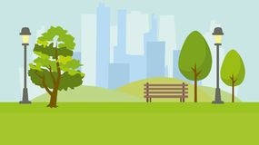 City park. Landscape on the background of tall houses vector illustration
