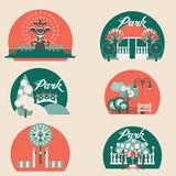City Park Landscape Elements Vector Set Royalty Free Stock Image