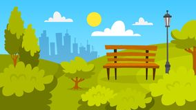 City park landscape. Green grass, bench and trees vector illustration