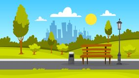 City park landscape. Green grass, bench and trees royalty free illustration