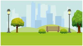 City Park, lights, trees, bench. Green horizontal background. Flat vector illustration stock illustration