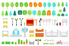 City and park map vector elements in flat design. With tree, bush, bench, swing, lamp, station, traffic light, signs, pointer, bulletin board, fountain, fence Royalty Free Stock Photo