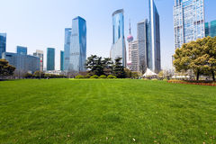 City park with modern building Stock Photography