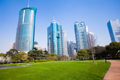 City park with modern building background in shanghai Stock Images
