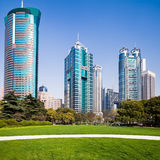 City park with modern building background in shanghai Royalty Free Stock Photo