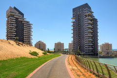 City park and modern building. Royalty Free Stock Images