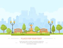City park - modern vector illustration with place for text Stock Photos
