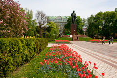 City park with a monument to the great poet in Kiev Stock Photos