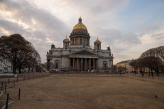 City Park near St. Isaac's Cathedral at sunset. Spring. Saint-Petersburg. Russia. Royalty Free Stock Photos
