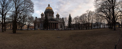 City Park near St. Isaac's Cathedral at sunset. Spring. Saint-Petersburg. Russia. Stock Photo