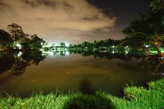 City park in the night with a resting place. The landscape of th. E city park in the winter stock image
