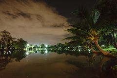 City park in the night with a resting place. The landscape of th stock images