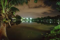 City park in the night with a resting place. The landscape of th royalty free stock image