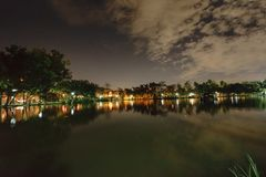 City park in the night with a resting place. The landscape of th stock image