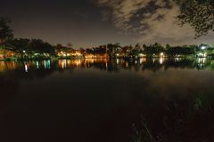 City park in the night with a resting place. The landscape of th stock photography