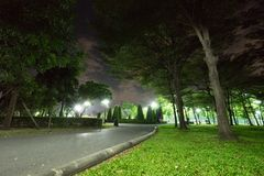 City park in the night with a resting place. The landscape of th. E city park in the winter royalty free stock photography