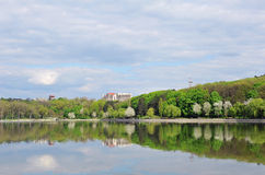 City park from the other side of the lake. Royalty Free Stock Photo