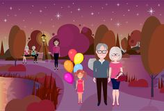 City park outdoors girl hold balloons grandparents wooden bench street lamp river lawn trees on city buildings template. Background flat vector illustration royalty free illustration
