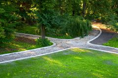 City park with paved path under construction Stock Photography