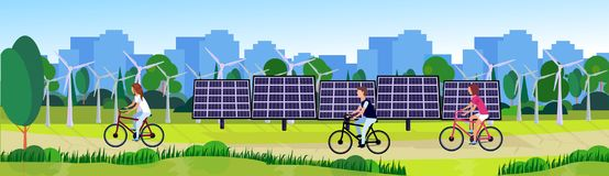 City park people cycling clean energy wind turbines solar energy panels river green lawn trees on city buildings. Template background flat banner vector stock illustration
