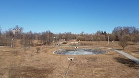 City park with pond in early spring in Zelenograd administrative district of Moscow, Russia. City park with a pond in the early spring in the Zelenograd stock footage