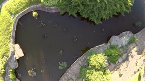 City park and pools of water stock footage