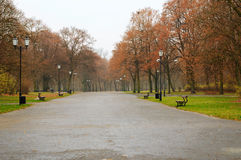City park in a raining day Royalty Free Stock Photography